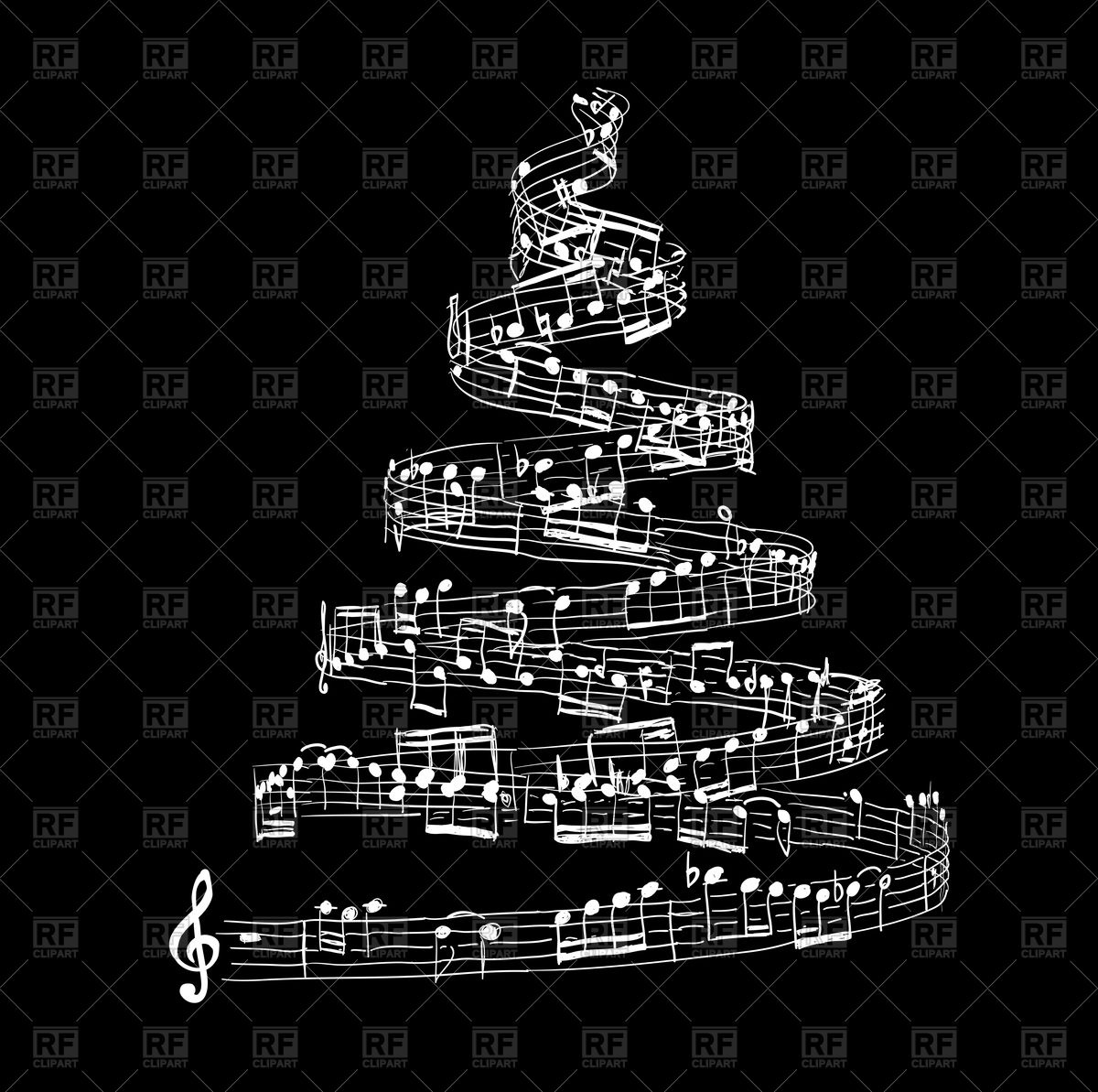 Christmas tree made from music notes Stock Vector Image.