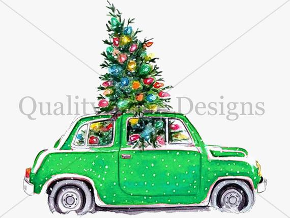 Christmas Tree and car Package Multi Color Pack car Clipart Set Green Red  Turquoise Blue Purple images with transparent background.