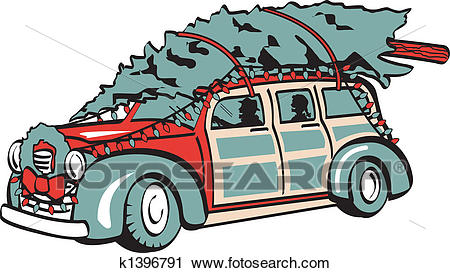 Retro Vintage Christmas Tree On Car Clipart.