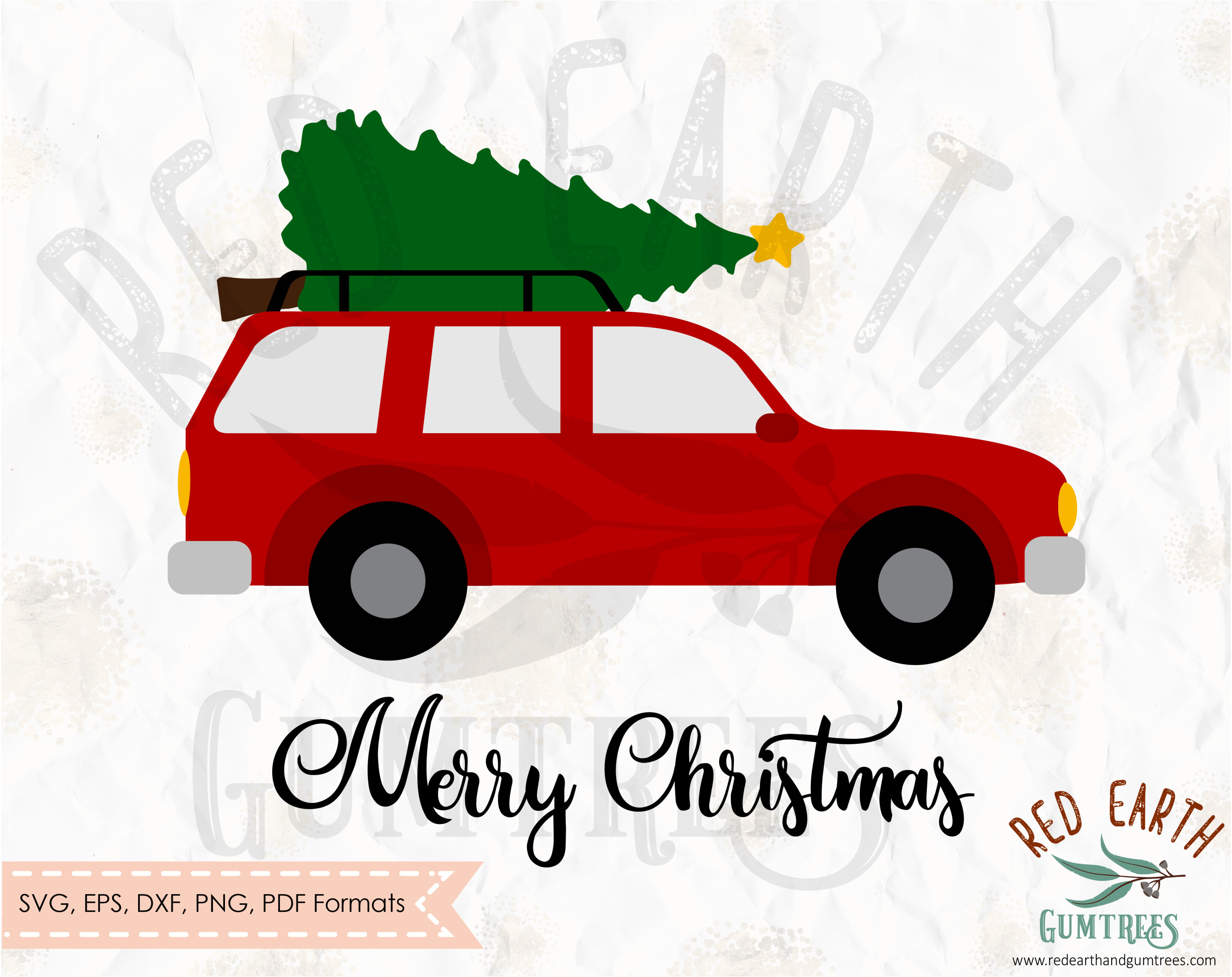 Car with Christmas tree on top in SVG, EPS, PDF, DXF, PNG formats.