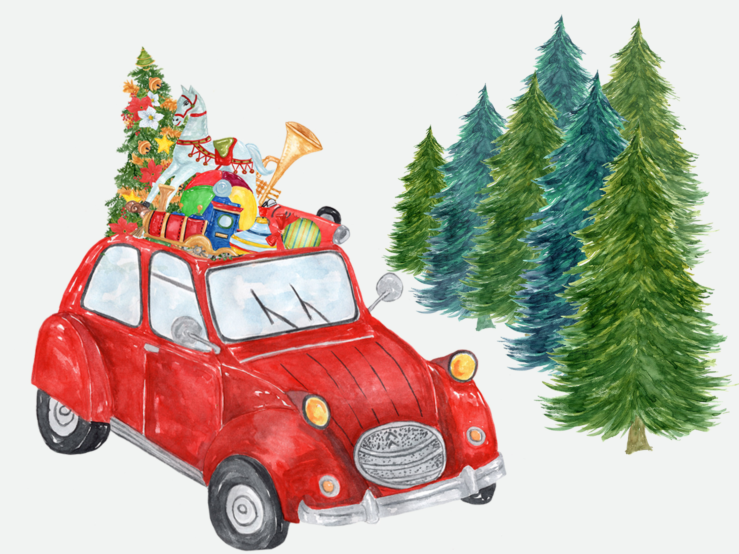 Watercolor Christmas Car Clipart.