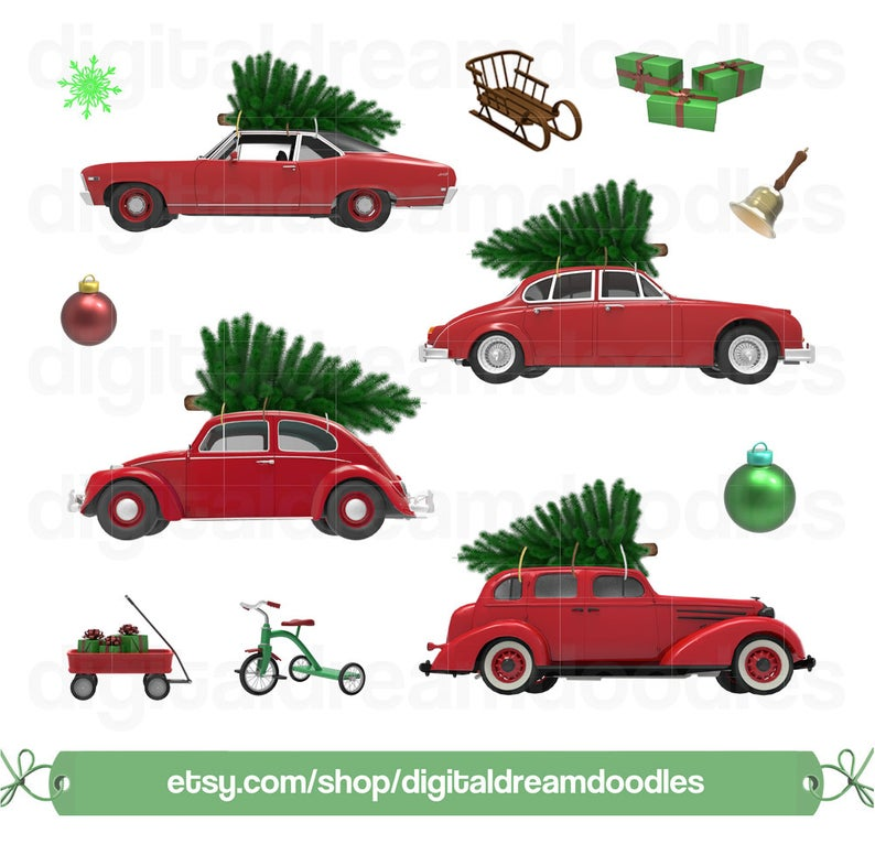 Christmas Car Tree Clipart, Xmas Car Tree Graphic, Holiday Cars Image,  Ornament Bell Scrapbook, Festive Toy Wagon Picture, Digital Download.