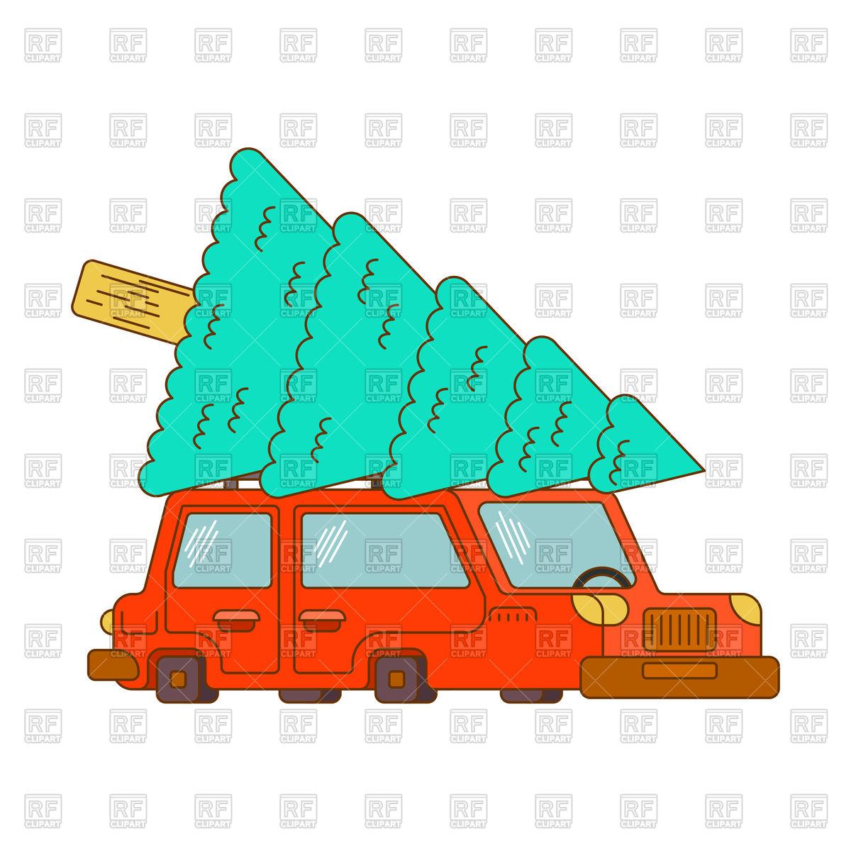 Car and Christmas tree Stock Vector Image.