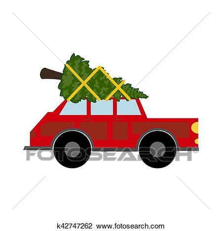 Red car with christmas tree Clipart.