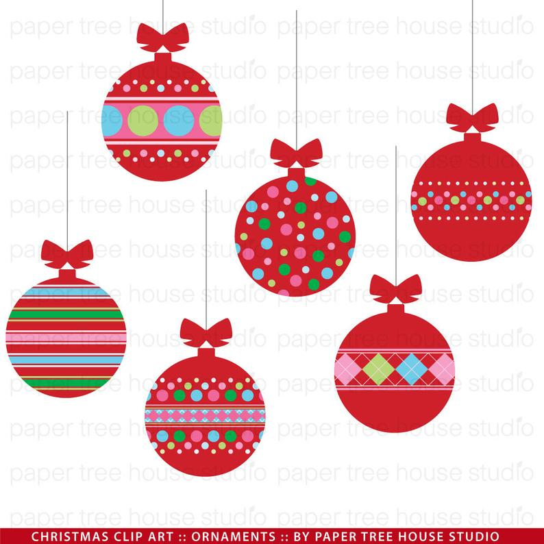 Christmas Ornament Clip Art. Red Christmas Ornaments. Christmas Ornament  Digital Download. Christmas Tree Ornament PNG. JPG. Digital Stamp..