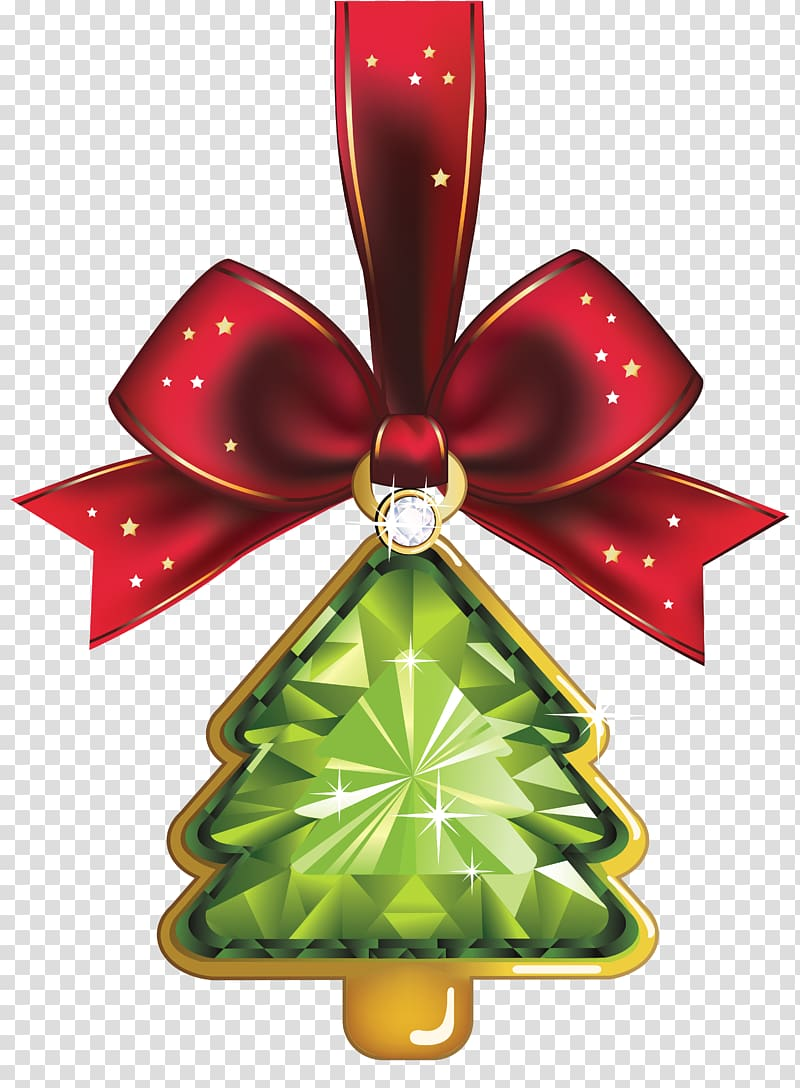 Red ribbon with pendant illustration, Christmas Day Christmas.