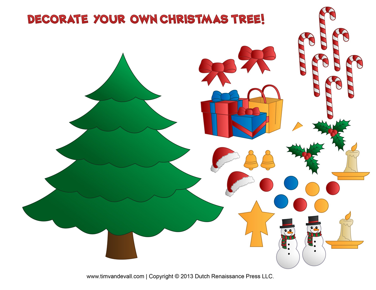 Christmas Tree Ornaments Clipart For Kids.
