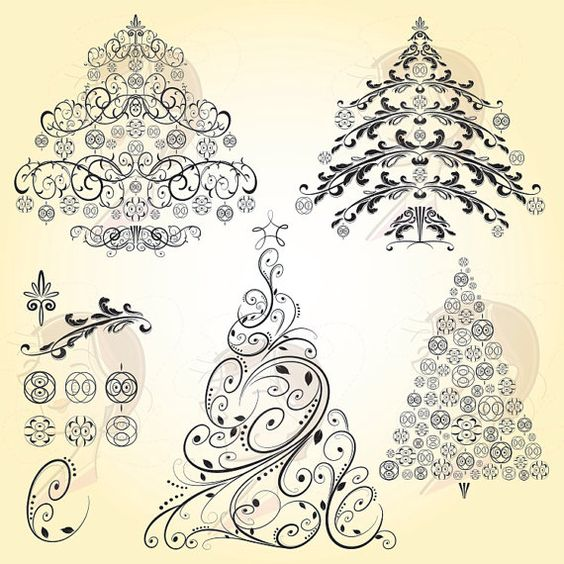 Christmas VECTOR Trees Retro Ornaments Vintage Digital Christmas.