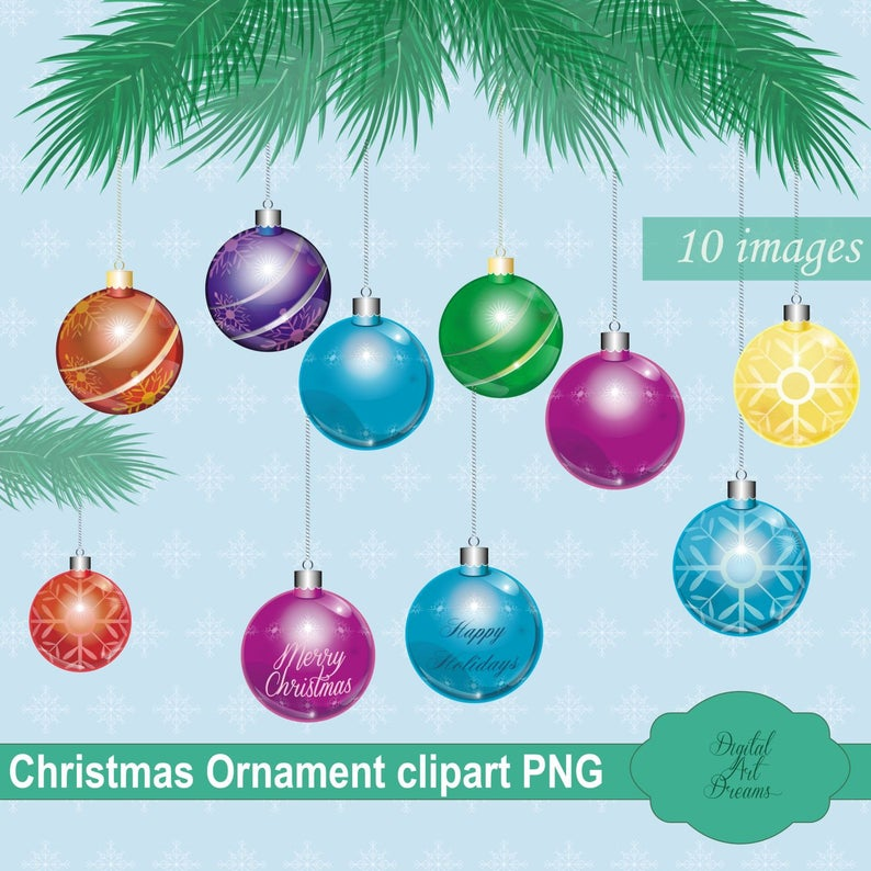 Christmas Ornaments Clipart, Cute Ornament PNG, Xmas Tree Decorations  Graphics, Digital Scrapbooking, Printables, Christmas Bulb Images.