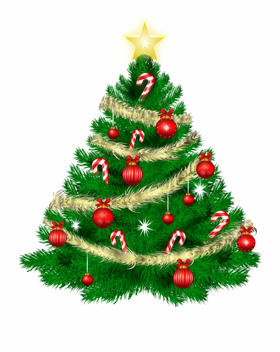 Christmas Tree With Christmas Ornaments And Star Png.
