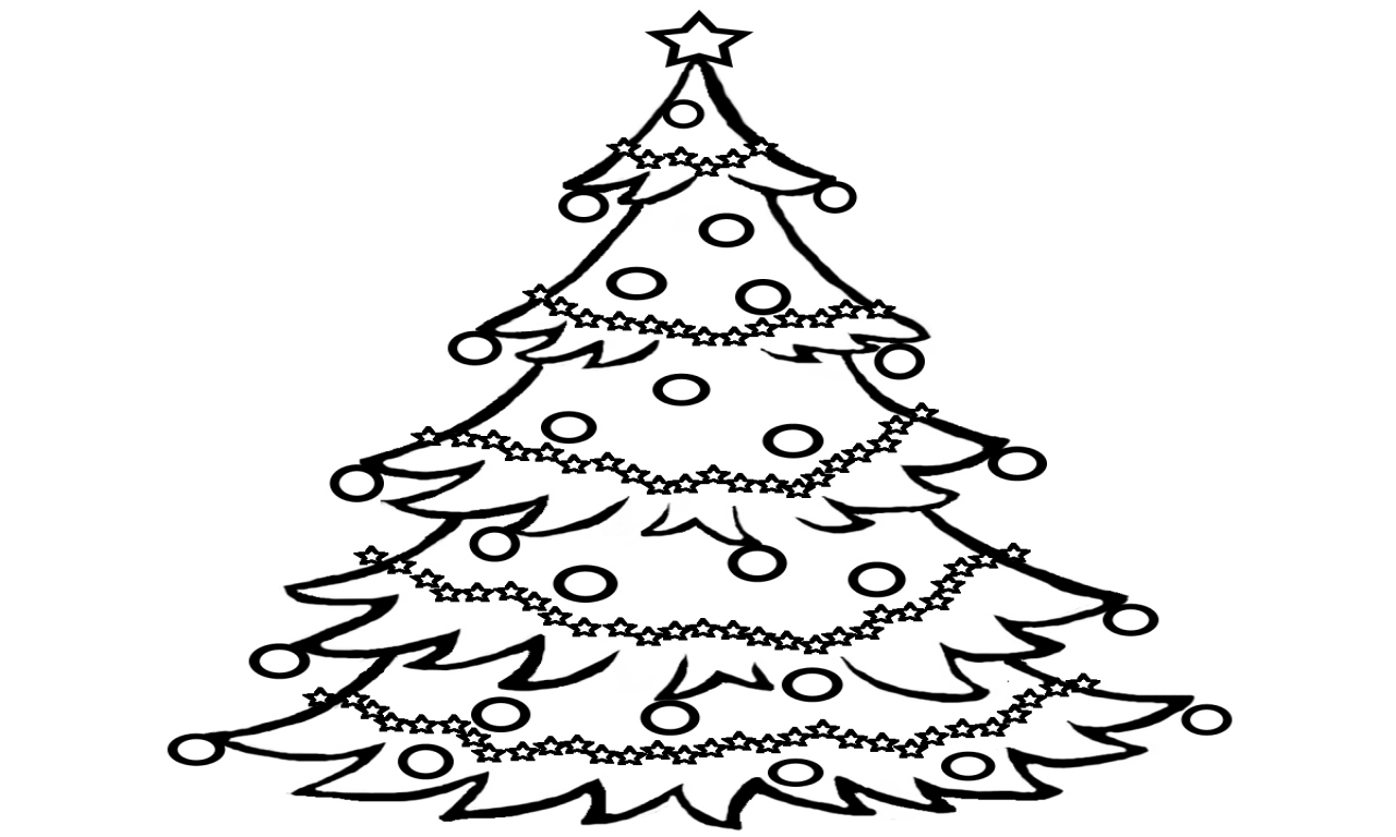 Christmas Tree Scenery Clipart Black And White.