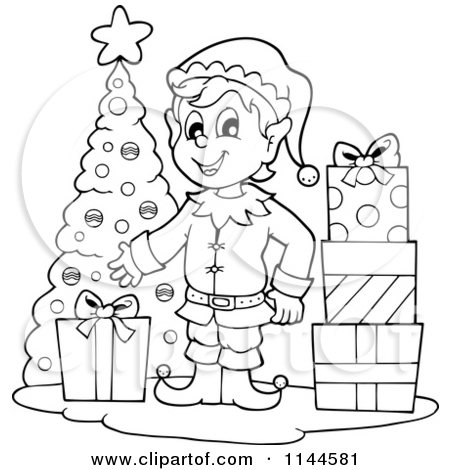 Christmas Scenery Clipart Black And White.