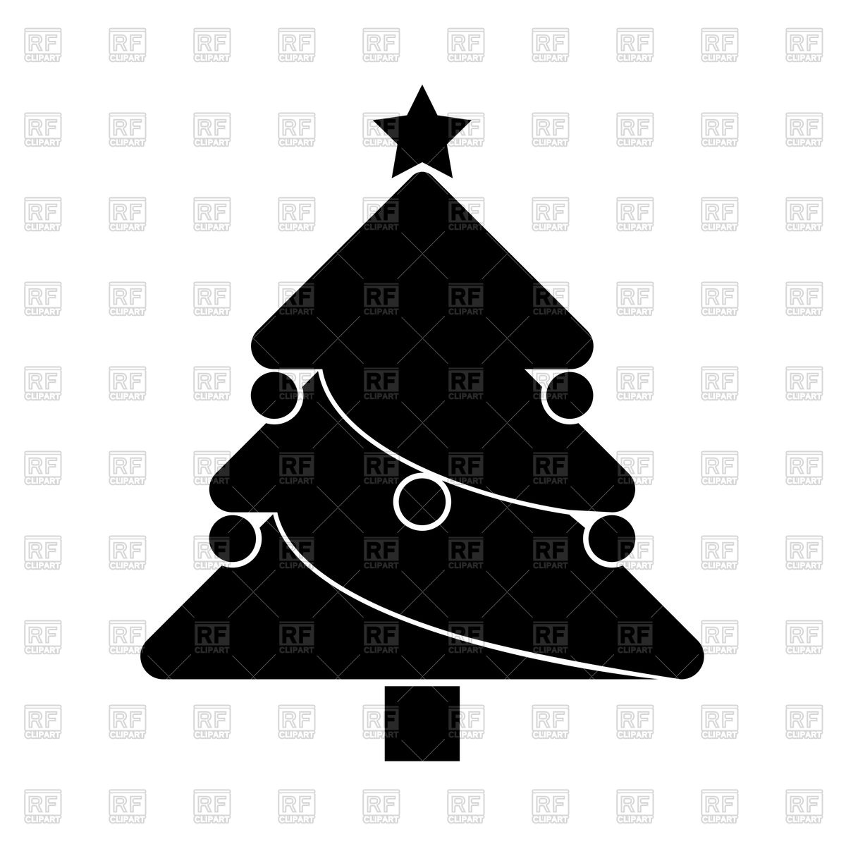Christmas tree silhouette Stock Vector Image.