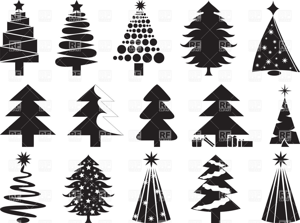 Stylized silhouettes of Christmas trees Stock Vector Image.