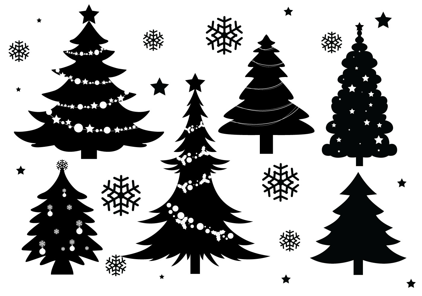 Christmas Tree Silhouette Free Vector Art.