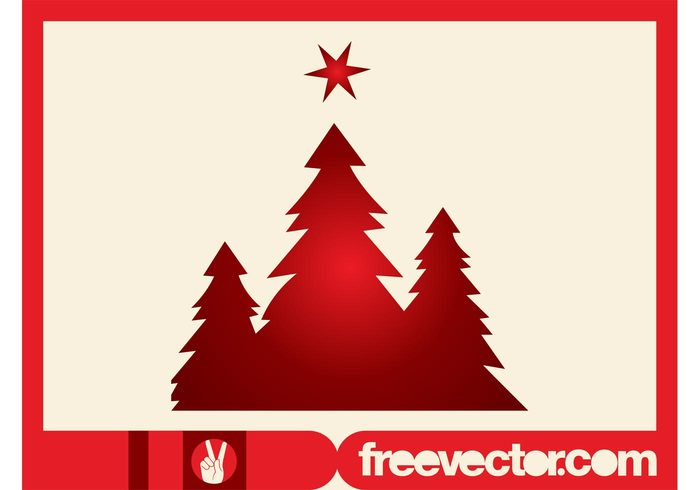 Christmas Trees Silhouettes Clip Art.