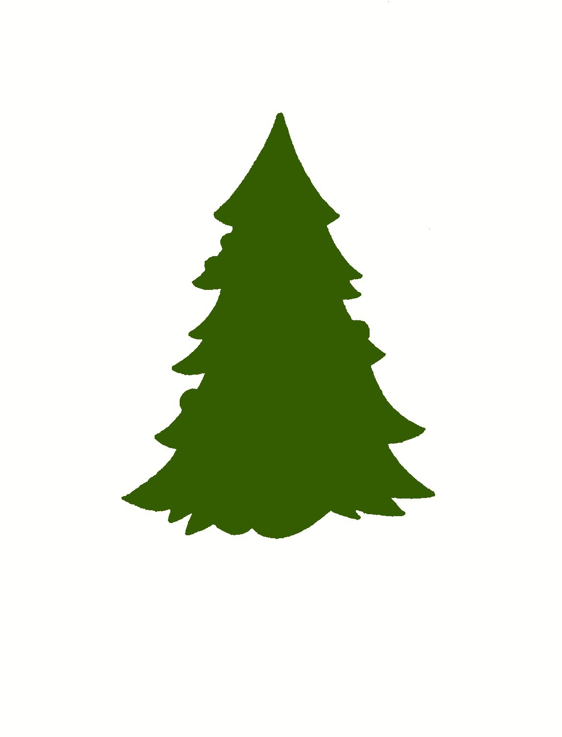 Green Christmas Tree Silhouette Clipart#2033413.