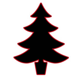 Silhouette Clipart Image of a Christmas Tree.