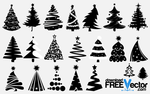 Free Vector Christmas Tree Silhouettes.