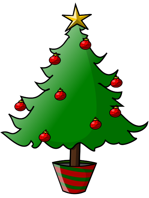 Musical Christmas Tree With Treble Clef Notes And Star Clipart.