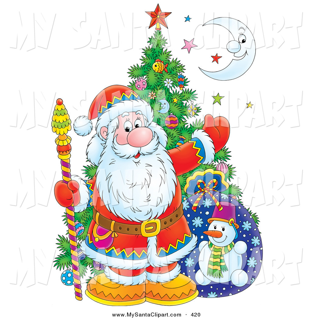Christmas Clip Art of a Cheerful Santa Posed with a Christmas Tree.
