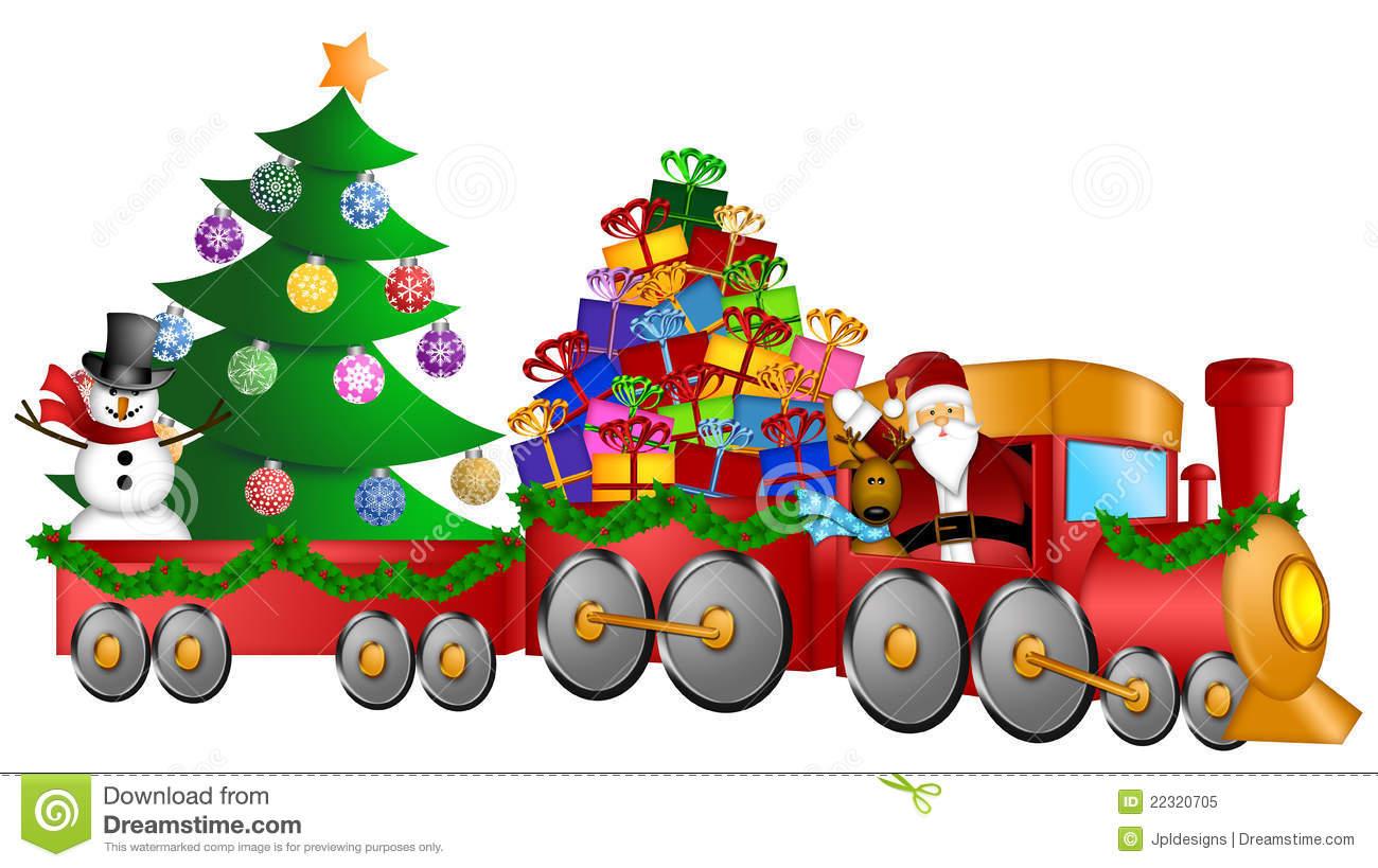 Train Christmas Toys Clipart.