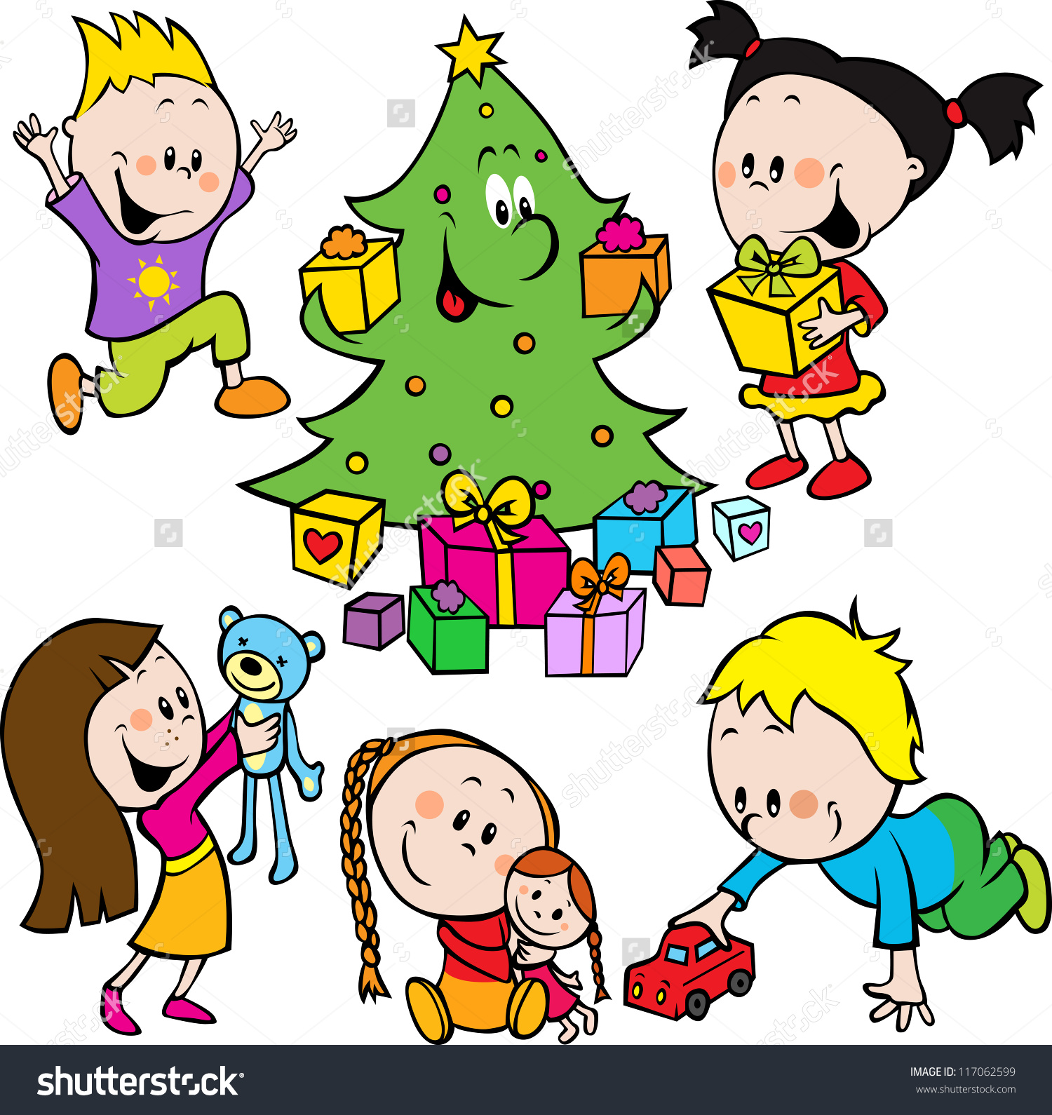 Children Playing Toys Christmas Tree Handing Stock Vector.