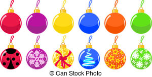 Christmas trees and toys clipart.