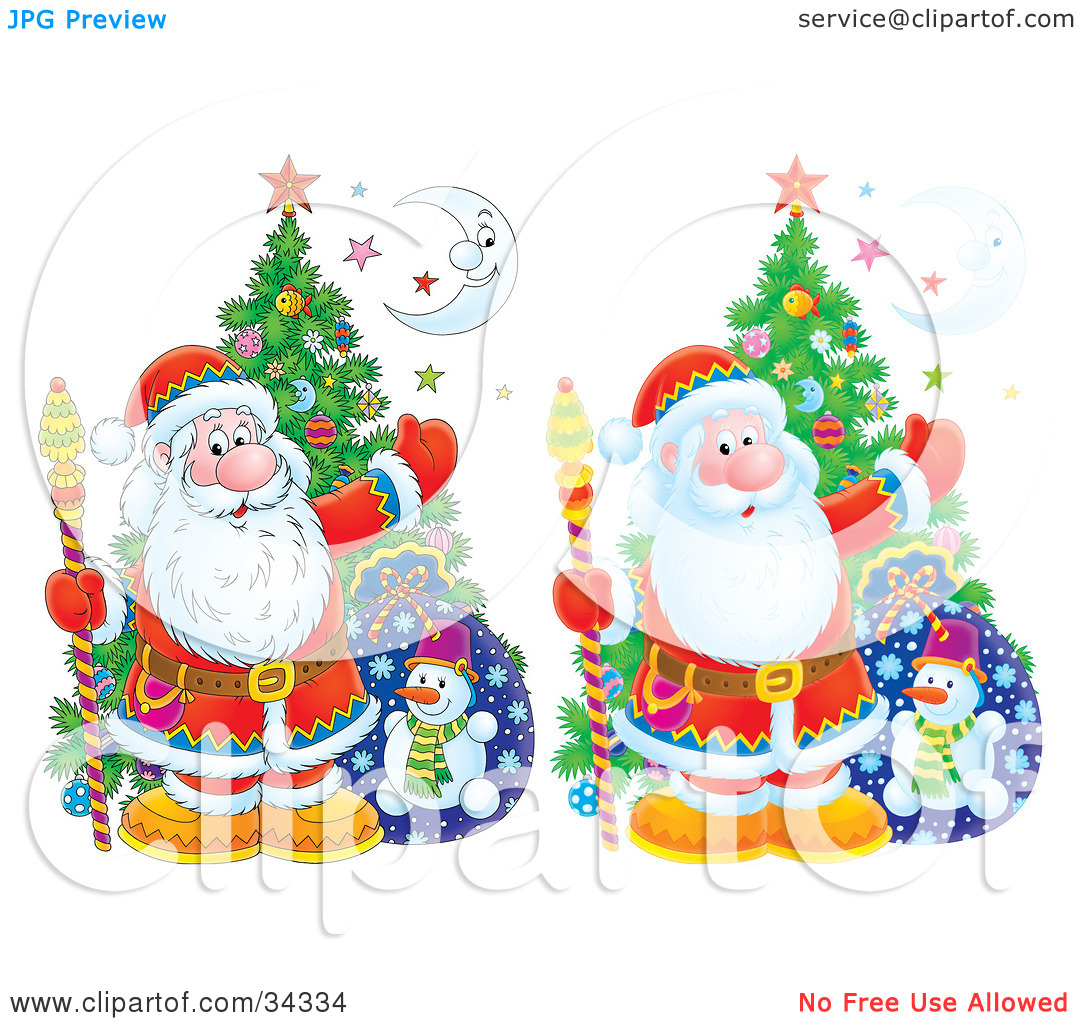 Clipart Illustration of Two Versions Of Santa Claus With A.