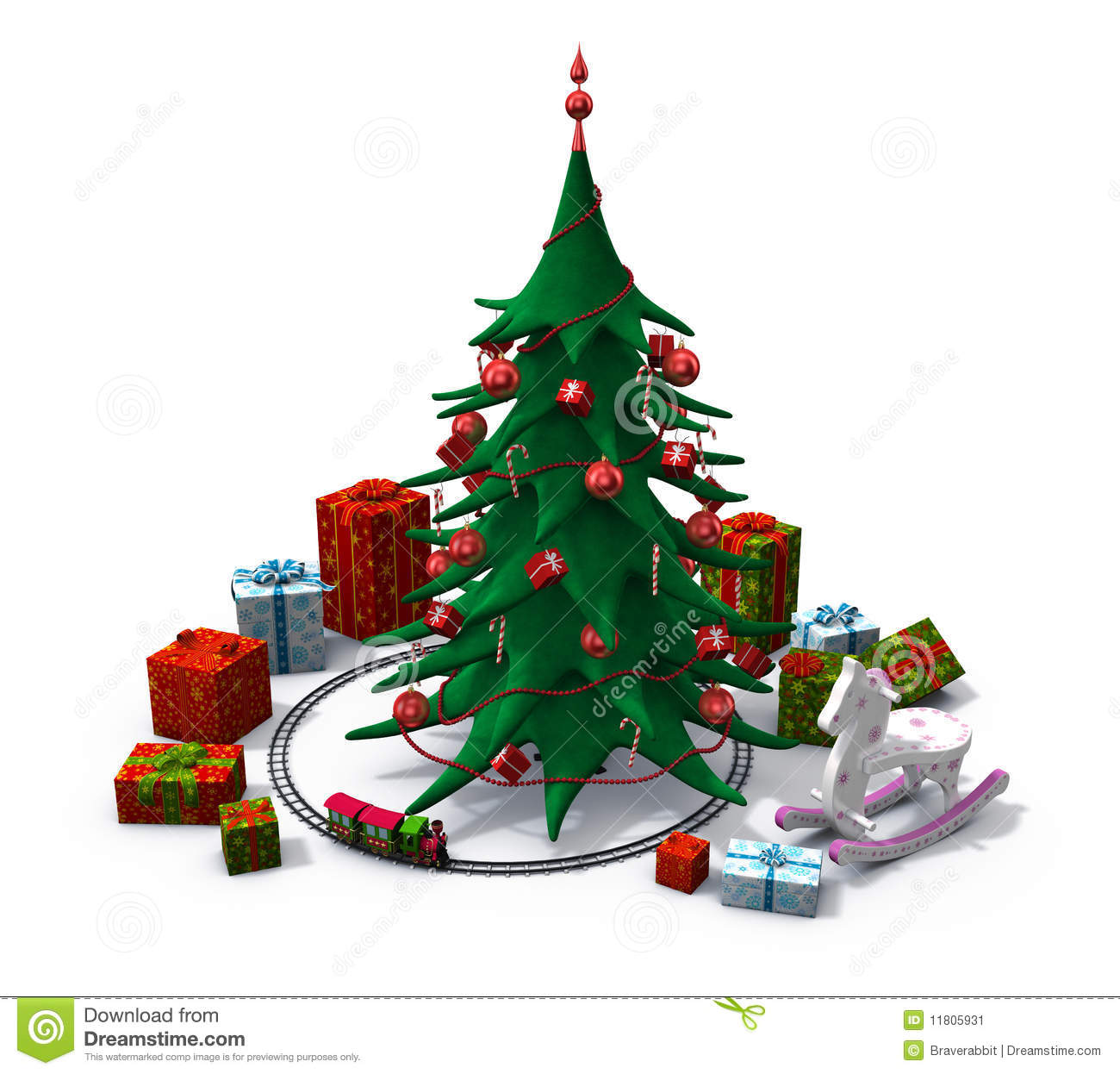Christmas Tree With Toys Clipart.