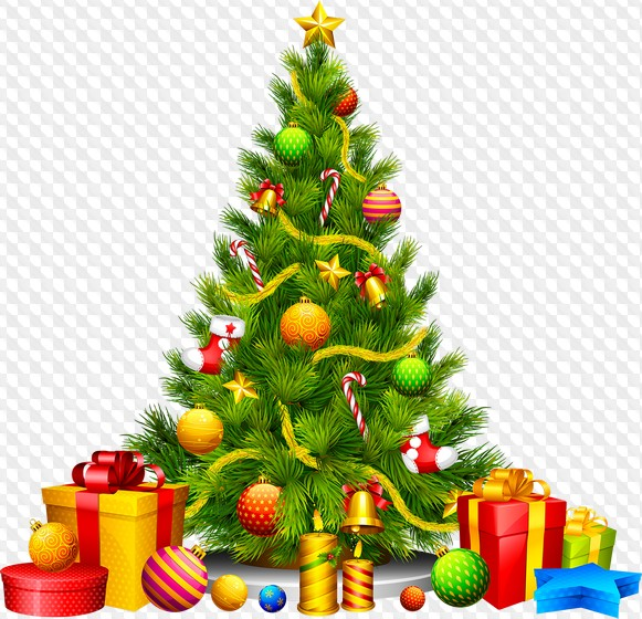 PSD, 30 PNG, Christmas tree on transparent background.