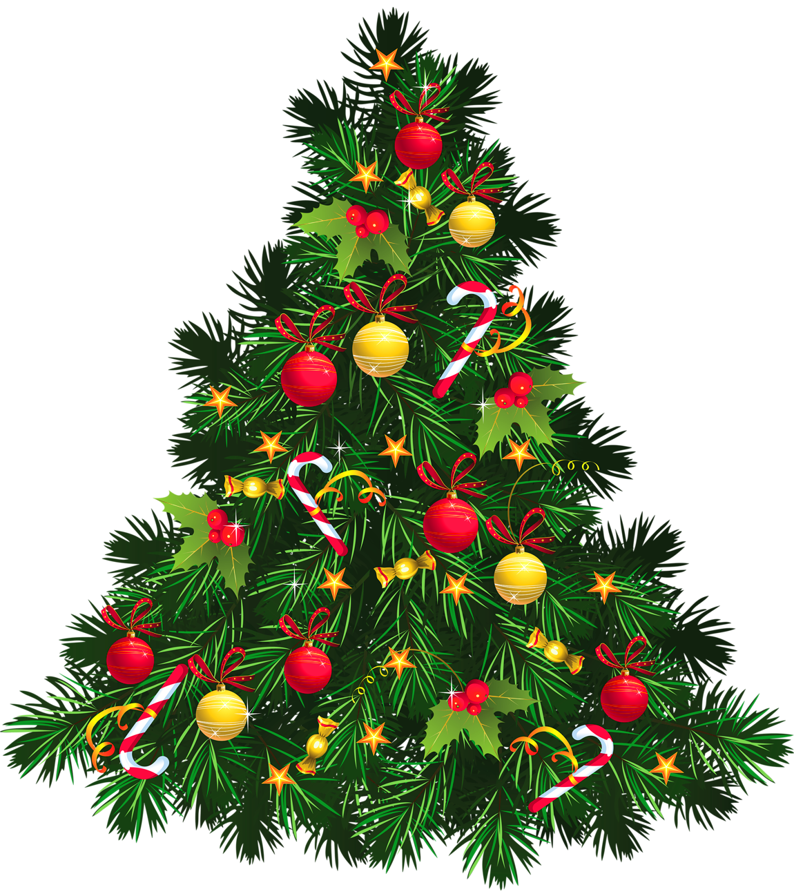 Transparent Christmas Tree with Ornaments PNG Picture.