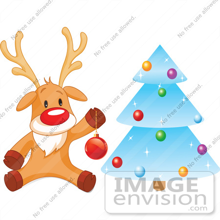 Clip Art Illustration Of Rudolph Trimming A Blue Icy Xmas Tree.
