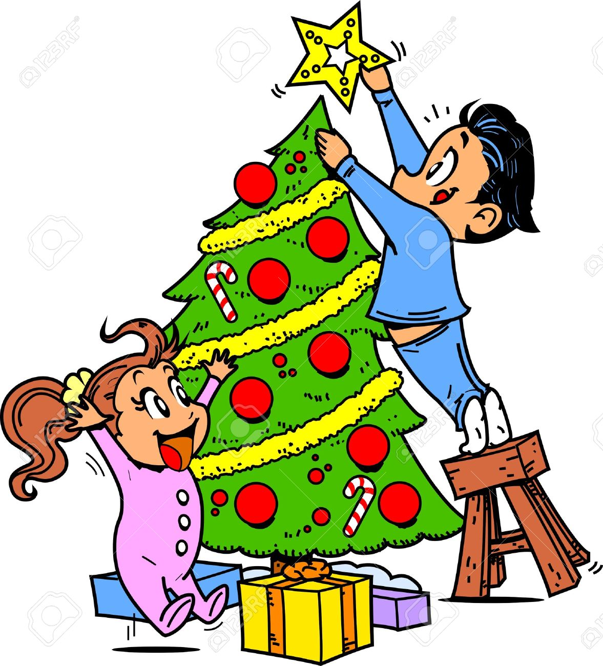 Young Boy and Girl Trimming the Christmas Tree and Putting the...