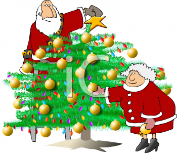 Cartoon of Santa Claus and Mrs Claus Trimming a Christmas Tree.