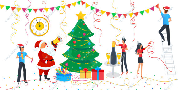 Christmas design elements set, cute Santa Claus, family decorating  christmas tree at home. Clipart for Merry Christmas, Happy New year.