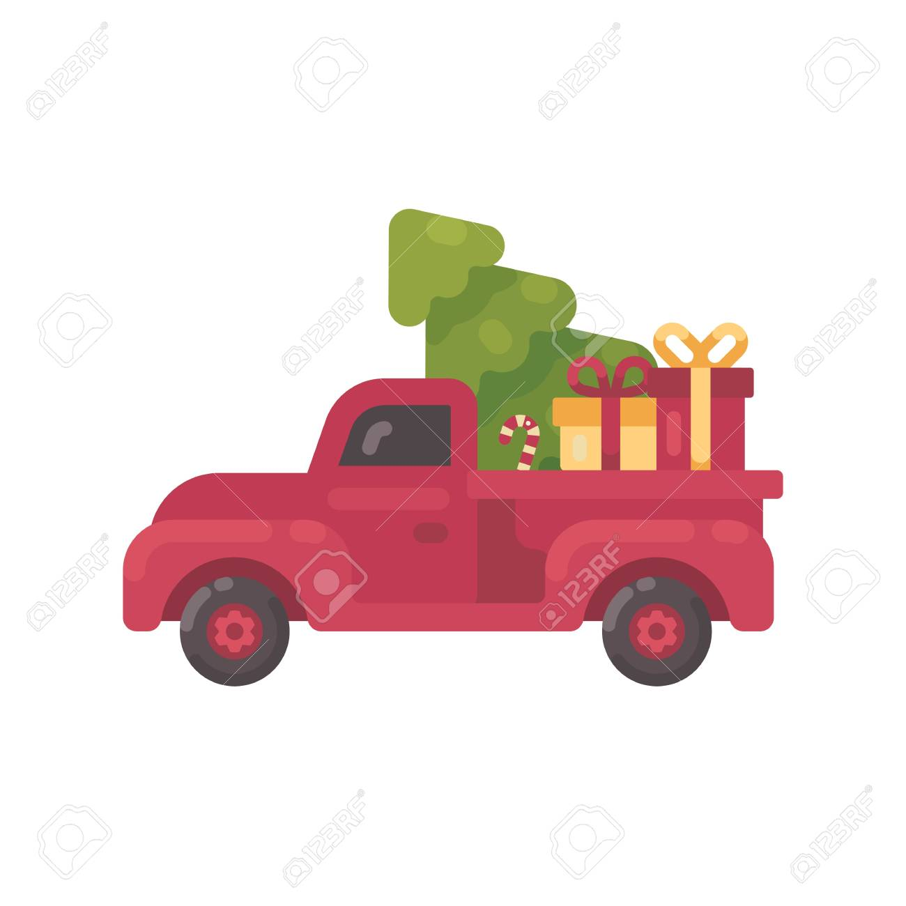 Old red truck with Christmas tree and presents.