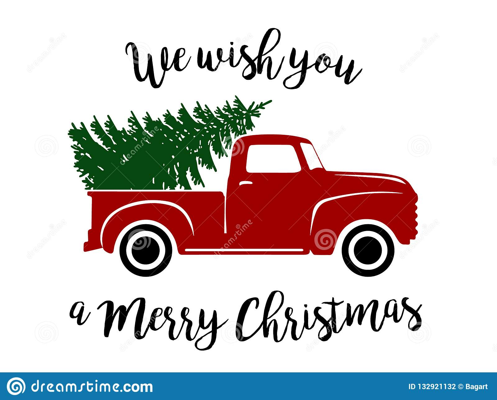 Old Christmas Truck stock vector. Illustration of flowing.