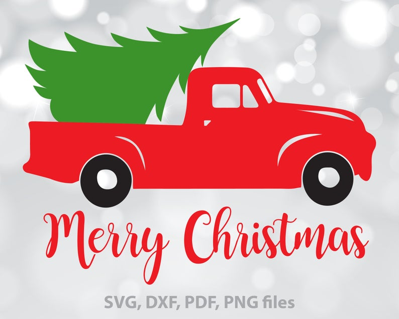 Christmas Tree Truck SVG, Christmas Truck dxf, Merry Christmas Cut file,  Xmas Truck Clipart, Christmas SVG, Christmas designs, Download.