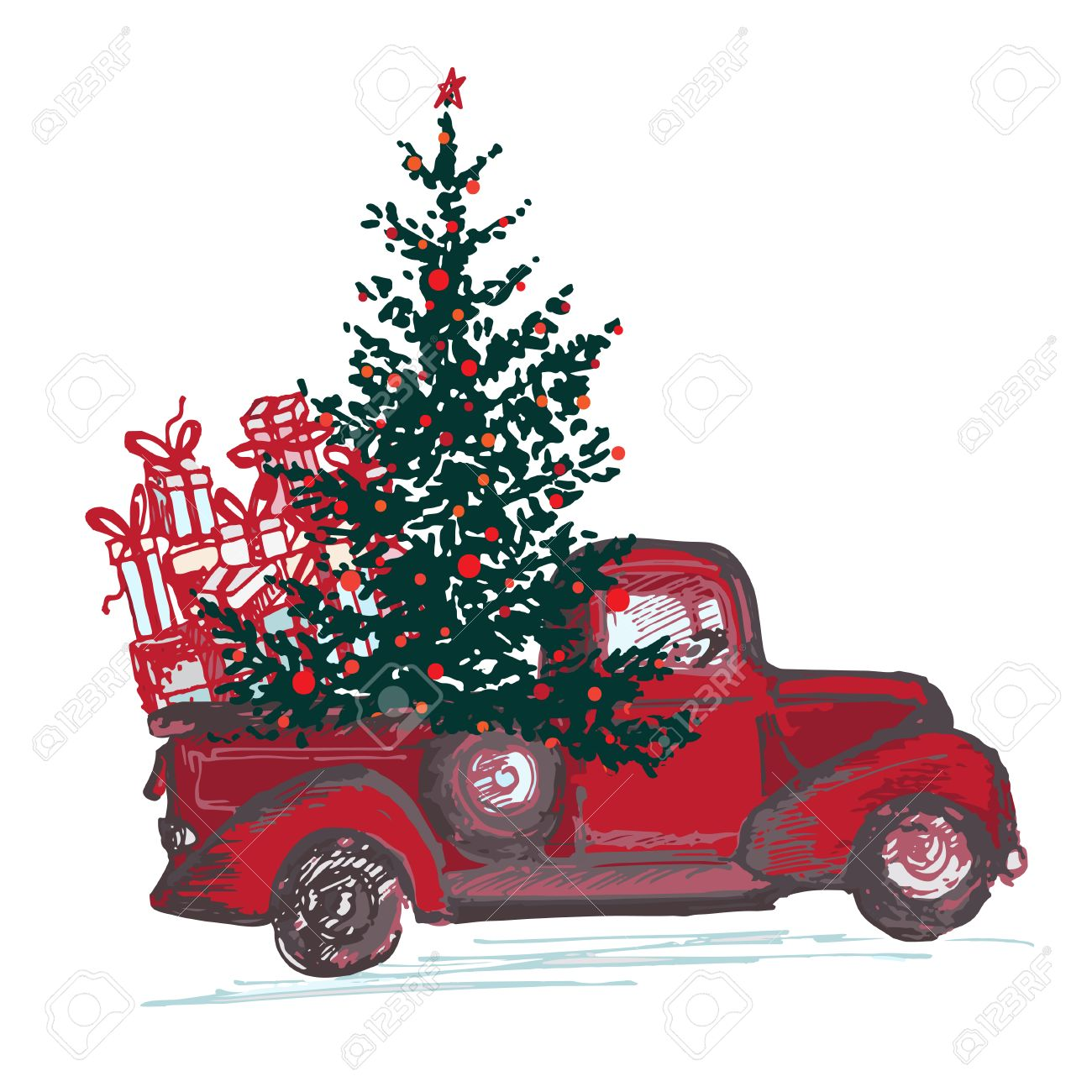 Festive New Year 2018 card. Red truck with fir tree decorated...