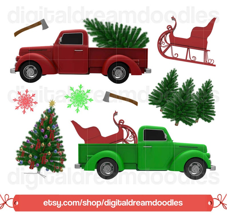 Christmas Tree Truck Clipart, Holiday Christmas Truck Clip Art, Xmas Tree  Farm Graphic, Snowflake PNG Scrapbook, Axe Image, Digital Download.
