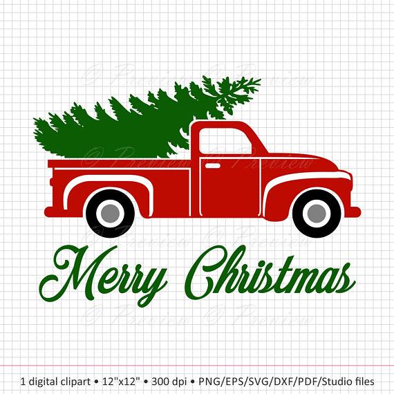 Christmas clip art truck.