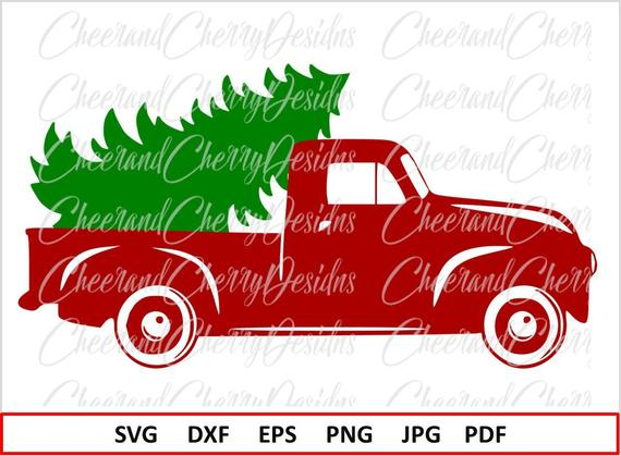 Christmas truck Svg Christmas SVG file Silhouette Christmas tree SVG for  Cricut Red truck Svg Christmas truck with tree Svg Vinyl Clipart.