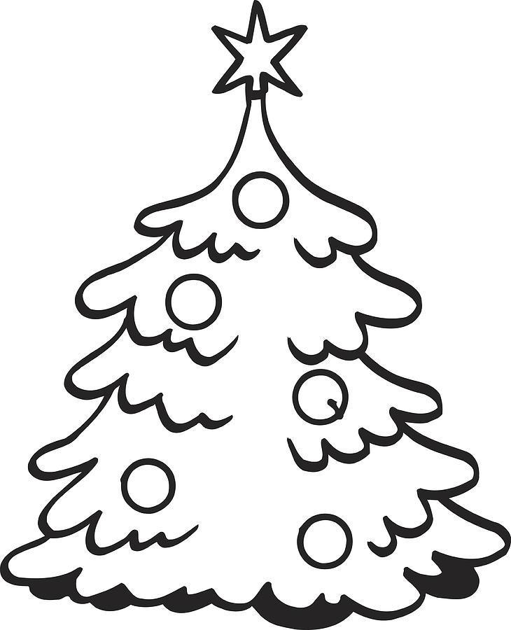 Christmas Tree Vector Clipart Design.