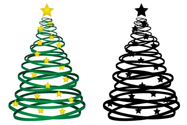 Free Ribbon Christmas Tree Vector.