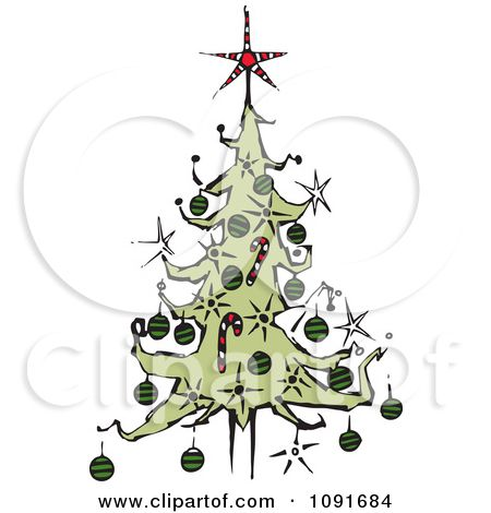 Clipart Christmas Tree With A Red Star Topper.