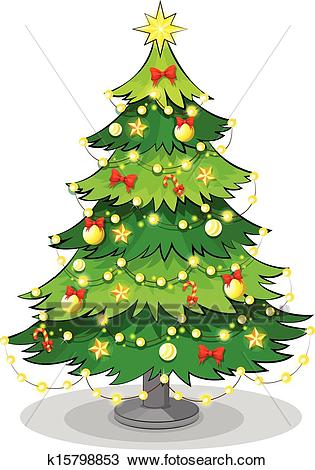 A green christmas tree with sparkling lights Clipart.