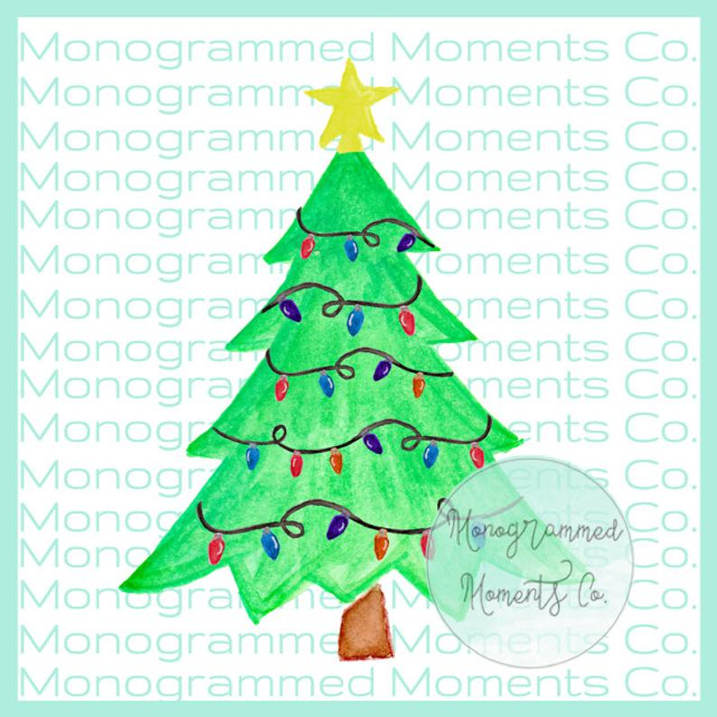 Christmas Tree Watercolor Clipart.