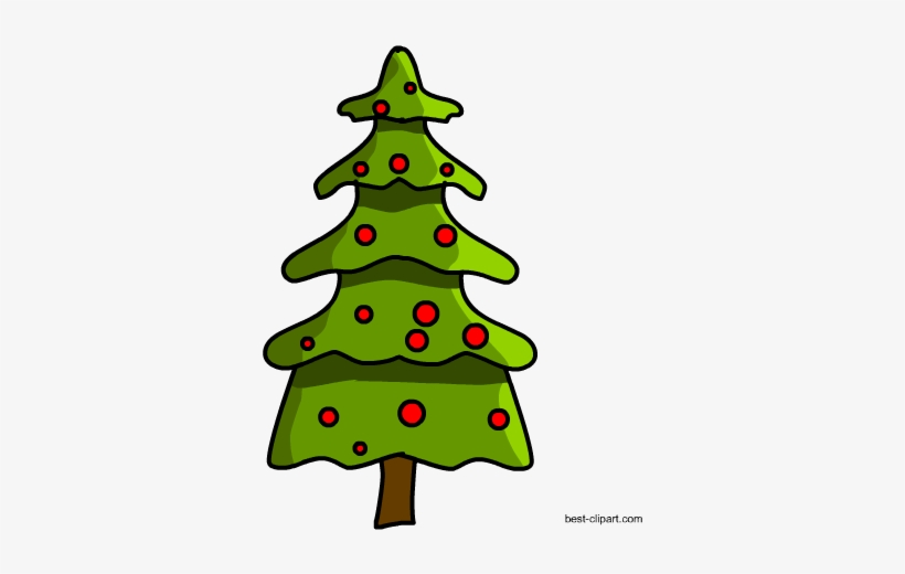 Christmas Tree With Red Lights Clip Art.