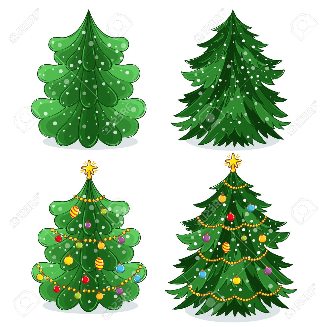 Green Christmas tree with light decoration, garland and toys...